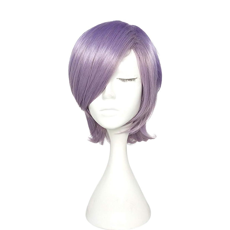 Koloeplf 高温シルクショートカーリーヘアマイクロロールペアーヘッドウィッグヘッドギアパープルかつら (Color : Purple)