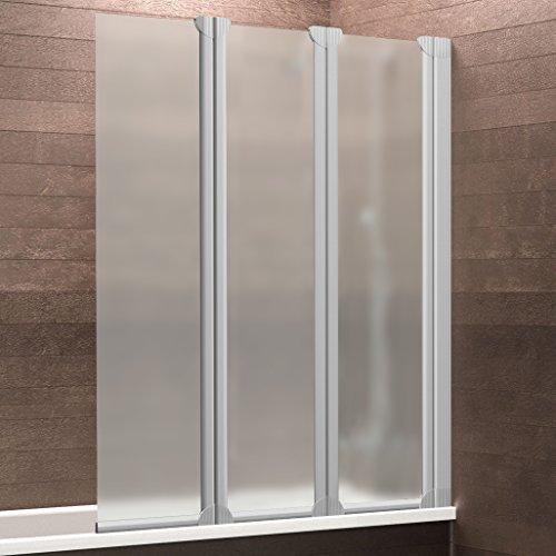 Schulte Badewannenaufsatz Duschabtrennung Badewanne Köln 3-teilig, 124 x 130 cm , Sicherheitsglas matt-sandgestrahlt, Profile alu-natur