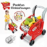 Packfun Kids Shopping Trolleys Toy Shopping Cart for Kids Children Grocery Cart with Pretend Play Food...