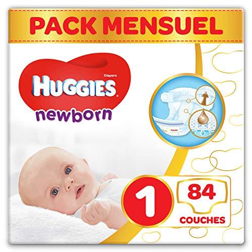 Huggies, Couches bébé Taille 1 (2-5 kg), 84 couches, Nouveau-nés, Unisexe, Avec indicateur d'humidité, Pack 1 mois de consommation, Newborn