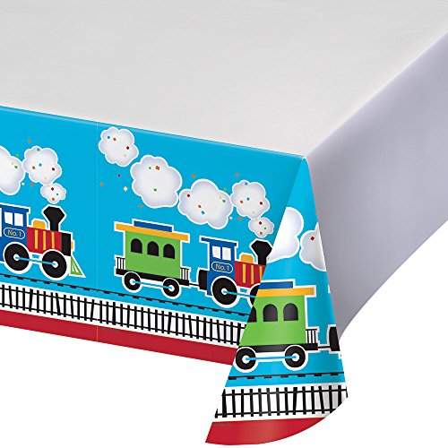 Creative Converting Border Print Plastic Tablecover, All Aboard -