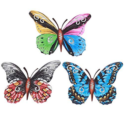 NAMYA 3 piezas de metal de hierro mariposa decoración de pared para interiores y exteriores, jardín o patio, decoración de pared