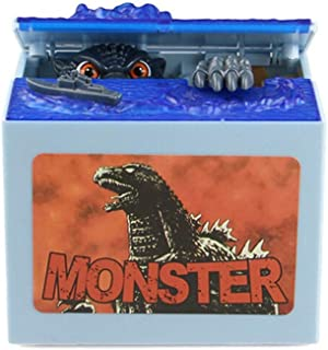 vmree Monster Stealing Coin Piggy Bank Automated Money Coin Saving Box Funny Desktop Decor Creative Gift for Kids Adults (A)
