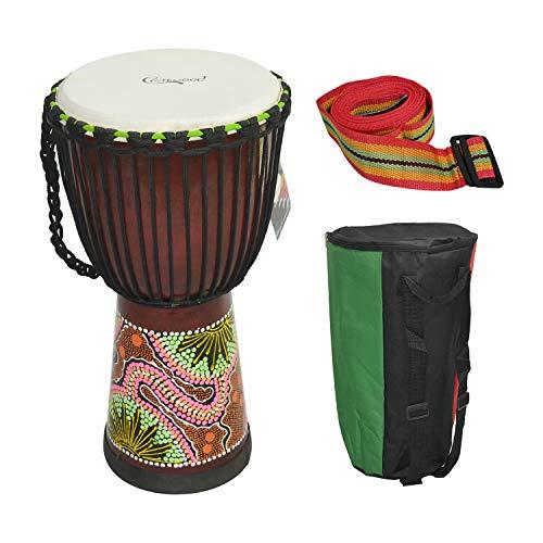 Muslady Camwood Tambor Africano de 10 pulgadas de Madera Djembe Bongo Congo Tambor de Mano Percusión Instrumento Musical Material de Caoba con Patrones Coloridos