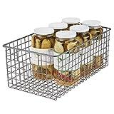 mDesign Organizer da cucina – Portaoggetti multiuso con maniglie – Cestino metallico multiuso ideale per il bagno, la cucina, il garage e la cameretta – grigio