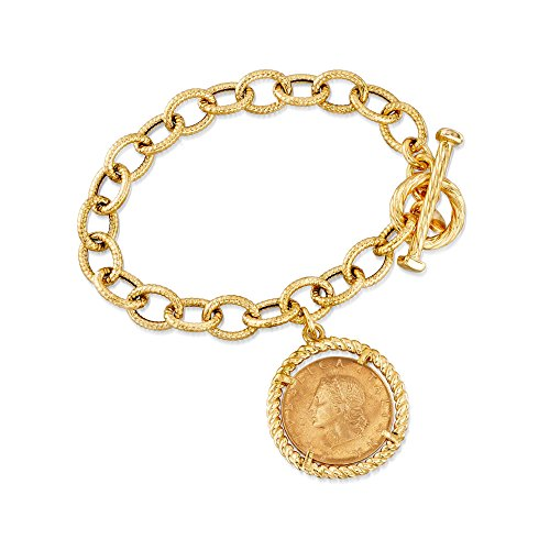 Ross-Simons Italian 18kt Gold Over Sterling Replica Lira Coin and Oval Link Toggle Bracelet