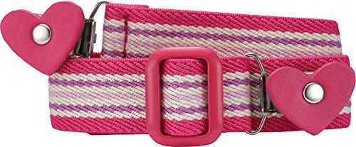 Playshoes Mädchen Gürtel 601231 Elastischer gestreifter Kindergürtel mit Clips in Herzform, passend bei Größe 74-110, Gr. one size, Rosa (pink/gestreift)