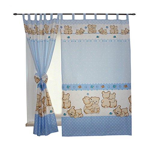 TupTam Cortinas con Trabillas para Habitación Infantil, Oso Azul, c. 155x95 cm