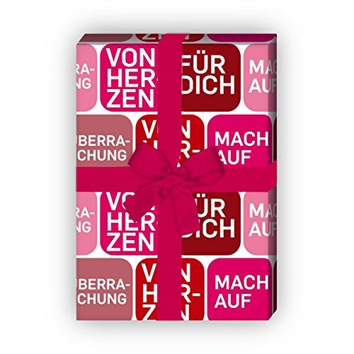 Von Herzen Geschenkpapier mit Text mach auf uvm, rot, für tolle Geschenk Verpackung und Überraschungen (4 Bogen, 32 x 48cm) Dekorpapier, Papier zum Einpacken