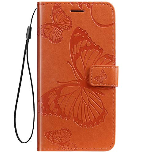 Herbests Kompatibel mit Leder Handy Schutzhülle Motorola Moto Z2 Force Lederhülle Schmetterling Muster Leder Handyhülle Handytasche Brieftasche Ledertasche Bookstyle Flip Hülle Cover Klapphülle,Orange