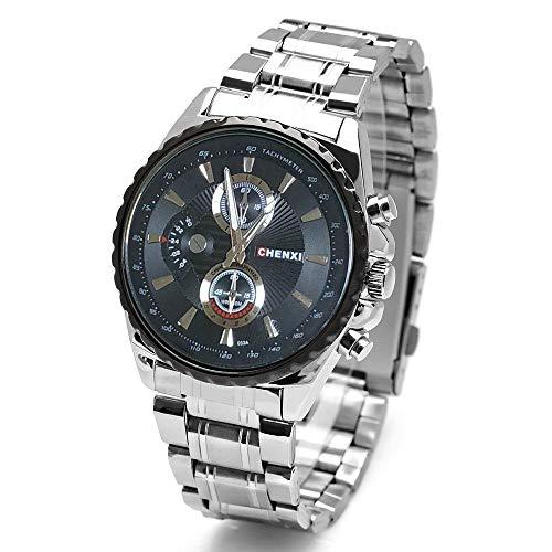 SJXIN Stilvolle Uhr Dawn Uhren Herrenuhr Stahlband Wasserdichte Uhr grenzüberschreitenden Explosion Modelle Quarzuhr 033A Modeuhren (Color : 1)