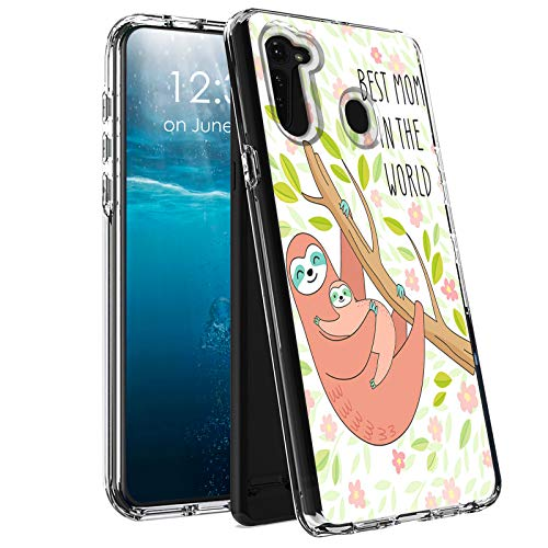 for Moto G Stylus Case 2020,BEROSET Dual Layer Hard Acrylic Back + Soft TPU Case Shockproof High Impact Protective Clear Phone Case for Motorola Moto G Stylus-Best Mom in The World Sloth