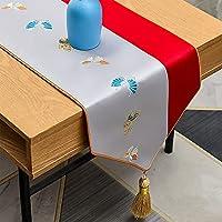 タッセル、160-300cmの長いダイニングテーブルランナー、モダンな結婚式の刺繍ドレッサースカーフ、洗える (Color : B, Size : 34×260cm/13.4×102inch)