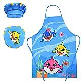 Kids Adjustbale Apron Chef Hat Set,Shark Unicorn Child Aprons Age 4-11 (Baby shark)