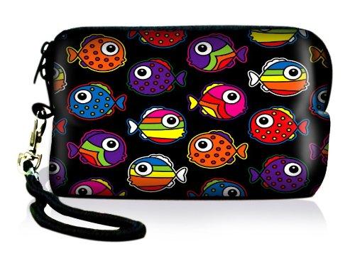Luxburg® Design Universal cameratas hoes sleeve case voor compacte digitale camera, motief: bonte vissen