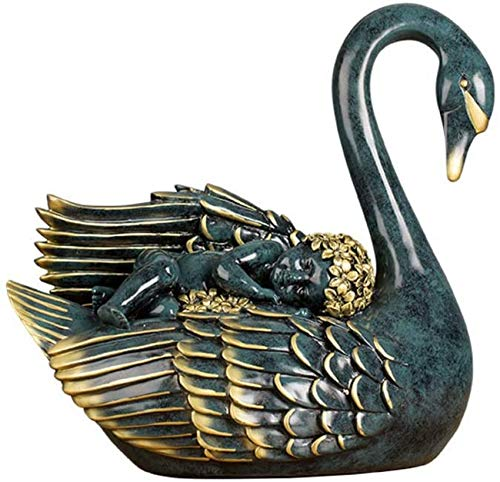 XHCP Swan sculpture,angel Lying On Swan Sculpture Bird Figure Swan shape Home Garden Lawn Outdoor Indoor Art Furnishing Ornaments -