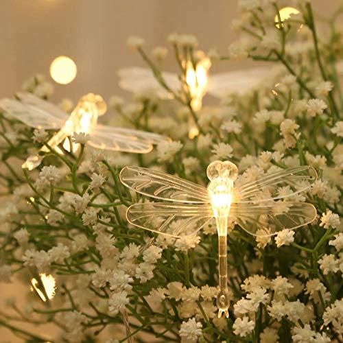 Syuantech Libélula Cadena de Luces 3 Metros 20Led Cobre Alambre Libélula Luces de Hadas para Fiesta Cumpleaños Vacaciones Decoración de La Habitación en Casa
