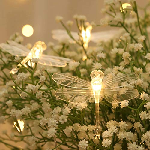 Josopa Dragonfly Solar String Fairy Light Warm Color Waterproof 3 Meter 20LED Garden Decoration Light for Home Patio Christmas Tree Flower Festival Wedding