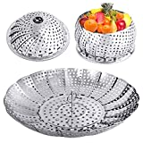 YLYL Veggie Vegetable Steamer Basket, Folding Steaming Basket, Metal Stainless Steel Steamer Basket Insert, Collapsible Steamer Baskets for Cooking Food, Expandable Fit Various Size Pot(5.9' to 9.8')