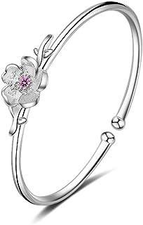 925 Sterling Silver Plated CZ Pink Cherry Blossom Flower Charm Women Adjustable Bangle Bracelet,Dia 52MM