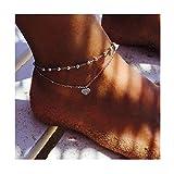 Edary Boho-Doppelherz-Fußkettchen, Vintage-Perlenkette, für Strand, auch als Armband, Schmuck für Frauen und Mädchen
