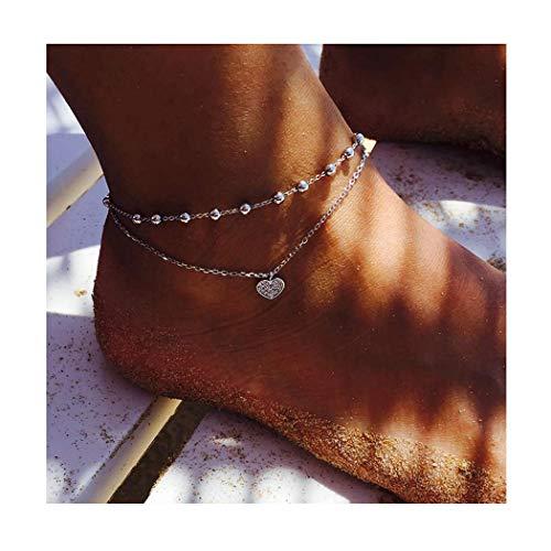 Edary Boho-Doppelherz-Fußkettchen, Vintage-Perlenkette, für Strand,...