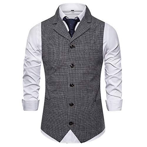 Story of life heren pak vest geruit vest mouwloos colbert blazer slim fit herenpak voor feestjes en bruiloft