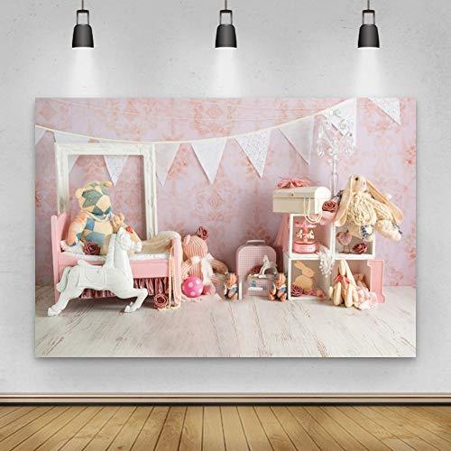 Fondo de fotografía de bebé recién Nacido de Piso de Pared Rosa Juguetes decoración de habitación de niña Foto de Fondo sesión fotográfica A4 10x7ft / 3x2,2 m