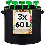 3 Sacos para Plantas Grandes de 60L de Tela no Tejida con Asas - 3 Etiquetas - Bolsas para Tomates, Patatas, Zanahorias