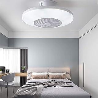 Ventilador De Techo Redondo Regulable Con Iluminación,acrílico Invisible Plafon 40w Empotrable Led Lámpara De Techo Con Control Remoto Para El Dormitorio-d 50x23cm(20x9inch)