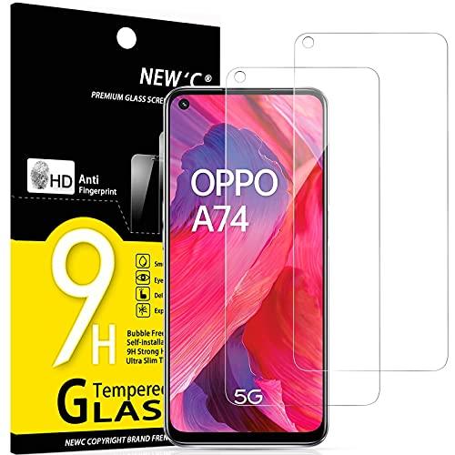 NEW'C 2 Stück, Schutzfolie Panzerglas für Oppo A54 5G, Oppo A74 5G, Frei von Kratzern, 9H Festigkeit, HD Bildschirmschutzfolie, 0.33mm Ultra-klar, Ultrawiderstandsfähig