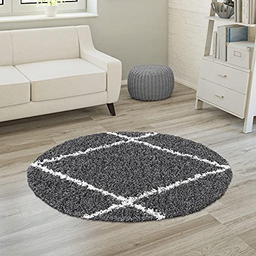 Tapis Shaggy Tapis De Salon Poil Long Poils Longs Motif Diamant Scandinave, Dimension:Ø 200 cm Rond, Couleur:Anthracite