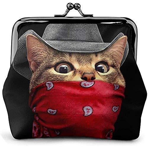 Western Cowboy Cat Cool Vintage Pouch Girl Kiss-Lock Cambio Monedero Carteras Hebilla Monederos de Cuero