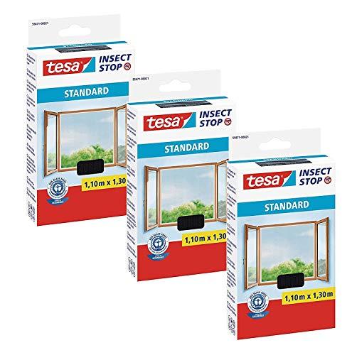 tesa® Insect Stop STANDARD Fliegengitter für Fenster - Insektenschutz zuschneidbar - Mückenschutz ohne Bohren - Fliegen Netz anthrazit, 110 cm x 130 cm (3)