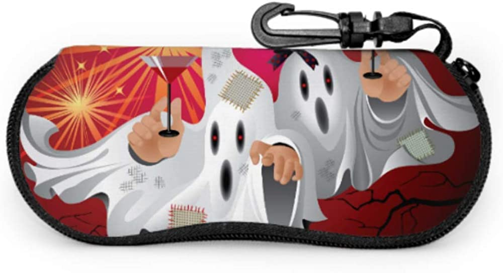 Cool Halloween Creep Fun Ghost Cases For Eyeglasses Baby Eyeglass Case Light Portable Neoprene Zipper Soft Case Kids Sunglasses Case