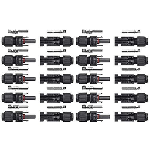 VIVLLEN MC4 Conectores de Cable de Panel Solar Macho/Hembra, Anillos de Doble Sello para un...