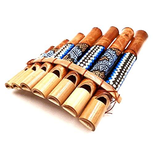 Flauta de pan de bambú, instrumento musical, madera artesanal, panpipas de bambú, flauta panflute