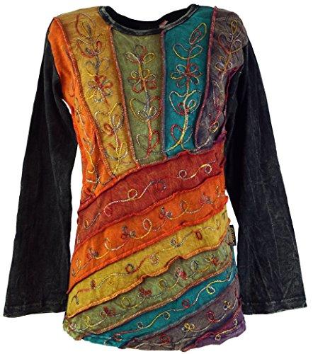 Guru-Shop Goa Langarmshirt Stonewash, Damen, Modell 6, Baumwolle, Size:M (38), Pullover, Longsleeves & Sweatshirts Alternative Bekleidung