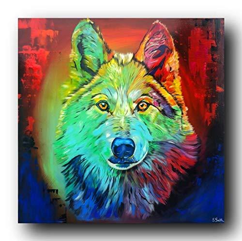 Bild, Gemälde, Sabrina Seck, Wolf, Unikat, öl, abstrakt, handmade, original, painting, acryl, modern, XXL, Dekoration, Titel: colorful lupus (90 cm x 90 cm)