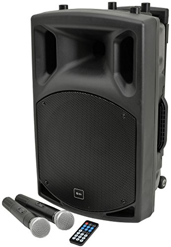 QTX | QX12PA Complete Portable PA System | 2 x Wireless Microphones & Media...
