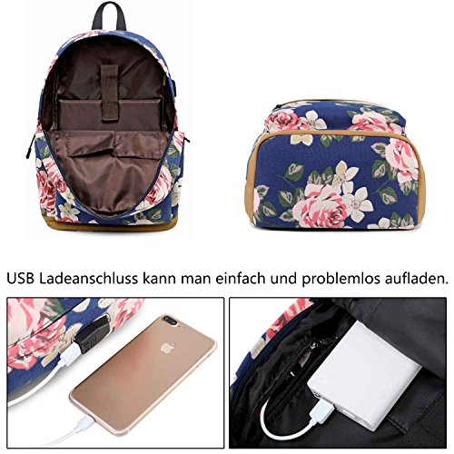 Neuleben Rucksack Schulrucksack mit Blumenmuster USB Ladeport für Damen Mädchen Rucksäcke Daypack Schultasche Schulranzen (Schwarz)