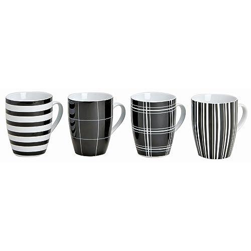 Lot de 4 bols 10 cm, ø8cm, 300 ml, lot de 4 tasses à café noir/blanc/rayures et carreaux-tasse à café - 4 pièces