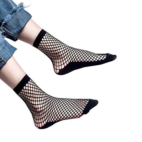 Tefamore Femmes Ruffle Fishnet Cheville Chaussettes Chaussures Mesh Lace Poisson Net Chaussettes (B, Noir)
