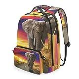 DOSHINE Abnehmbarer Reise-Rucksack, Afrika, Elefant, Sonnenuntergang, Schulranzen für Herren, Damen, Jungen, Mädchen, Kinder