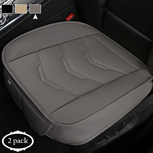 West Llama 2 Pack Front Car Seat Bottom Covers Cushion Pad Mat Filling Breathable Bamboo Charcoal,PU Leather Driver Car Seat Protector Pad for SUV Truck Jeep, 21.26 × 20.86 Inch Gray