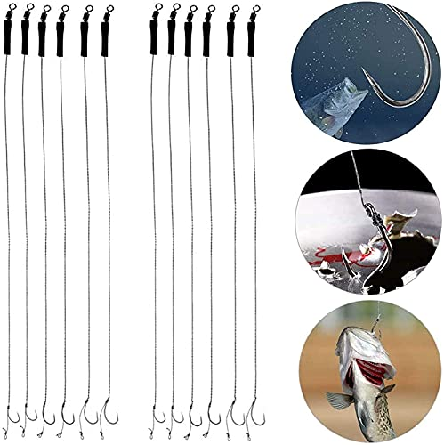 TANCUDER 12 PCS Fishing Hair Rigs Barbless Size 6# 8# 10# CoarseCurve...
