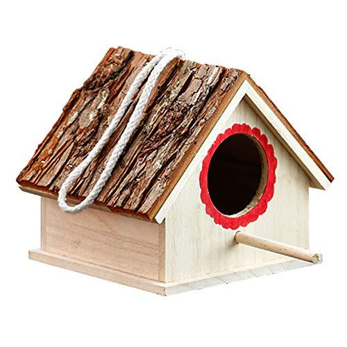 Houten vogelhuisje, massief hout, weerbestendig, voederhuis, vogelnest met silo voor kleine vogel