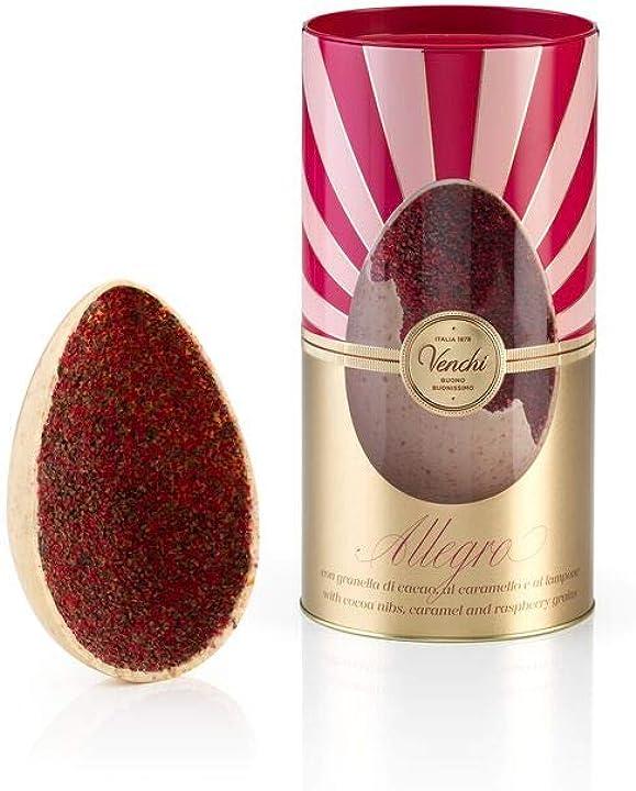 Uovo di cioccolato bianco, lampone e nibs allegro in cilindro di metallo, 280g - con sorpresa - senza glutine B085RZDRVW