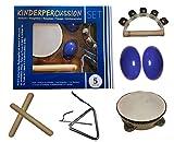 Kinder-Percussion-Set, Kinder Instrumente, 8-teilg aus Holz bestehend aus Tambourin, Triangel,...