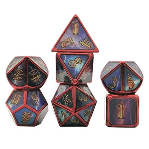 Wusuowei 7pcs Deluxe Metal Dice Polyhedral Board Game Dice Set for Friends Party RPG MTG